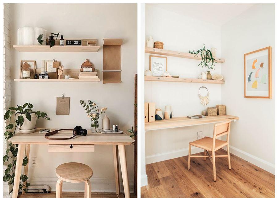 Zona de oficina, despacho en casa, de estilo nórdico y tonos neutros #homeoffice @utrillanais