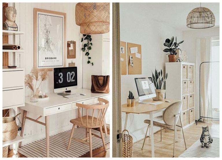 Zona de trabajo en casa, espacios para trabajar desde casa de estilo nórdico boho, y tonos neutros. #Homeoffice @utrillanais