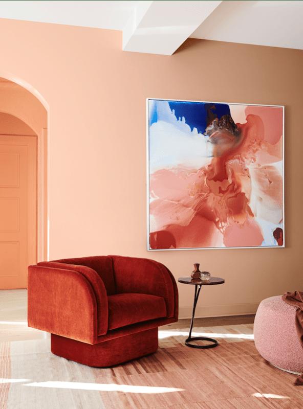 Zona de estar en tonos naranjas, terracota y rosas, una combinación de colores en tendencia 2020 #anautrillainteriorismo @utrillanais