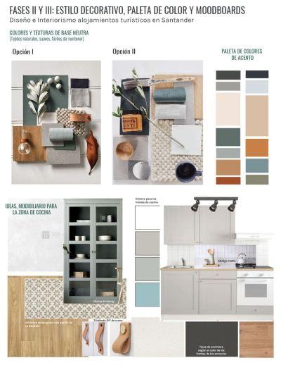 Modboard de paleta de colores, materiales y mobiliario según manual de estilo. Para proyecto de diseño e interiorismo de alojamiento turístico rural en Santander @utrillanais