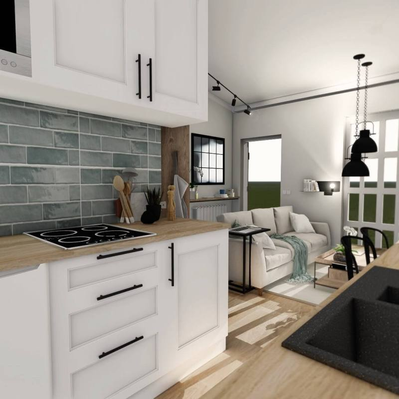 Cocina abierta de estilo farmhouse moderno, nórdico-industrial alojamiento rural en Santander en 3D @utrillanais