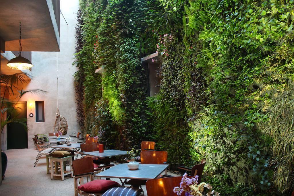 Espacio de terraza del hotel Kook en tarifa