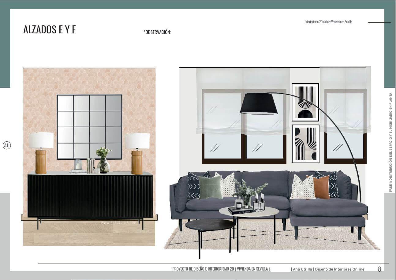 Proyecto de diseño de interiores online en 2D para salón comedor en Sevilla de estilo contemporáneo, alzados en 2D de cada pared de la estancia. #AnaUtrillainteriorismoonline #Proyectosdecoonline