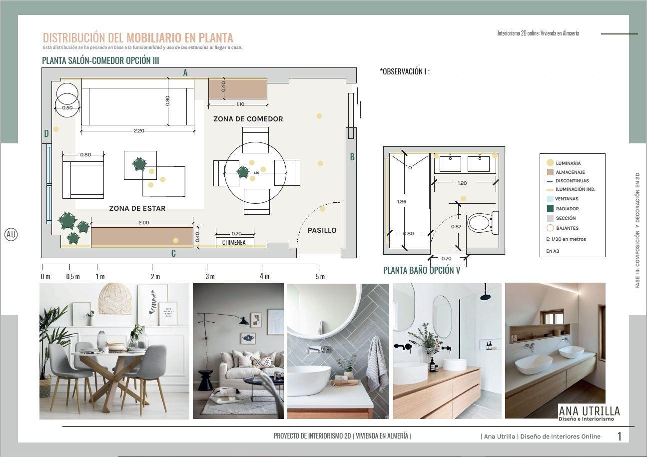 Plano de planta de salón comedor y baño, de vivienda en Almería de estilo nórdico contemporáneo y tonos neutros. #AnaUtrillainteriorismoonline
