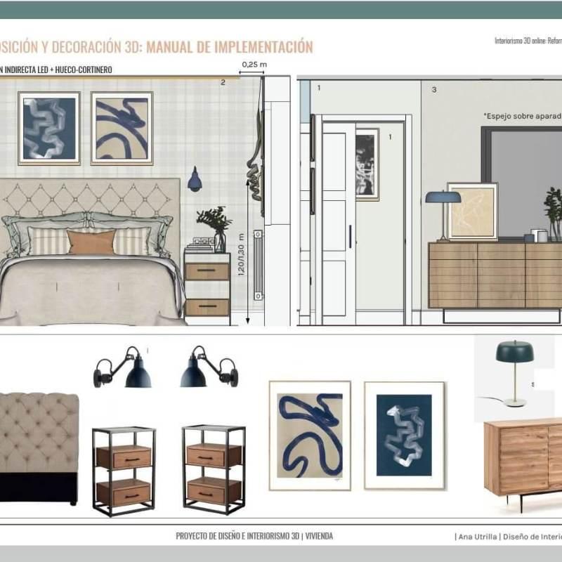 Proyecto de diseño e interiorismo en 3D online, para reforma integral en Medida del Campo, de estilo masculino y tonos azules. #AnaUtrillainteriorismoonline