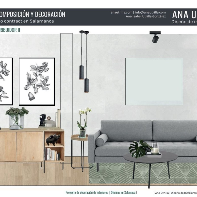 Proyecto de interiorismo contract en 2D online para espacio de oficinas en Salamanca de estilo industrial. #Anautrillainteriorismoonline