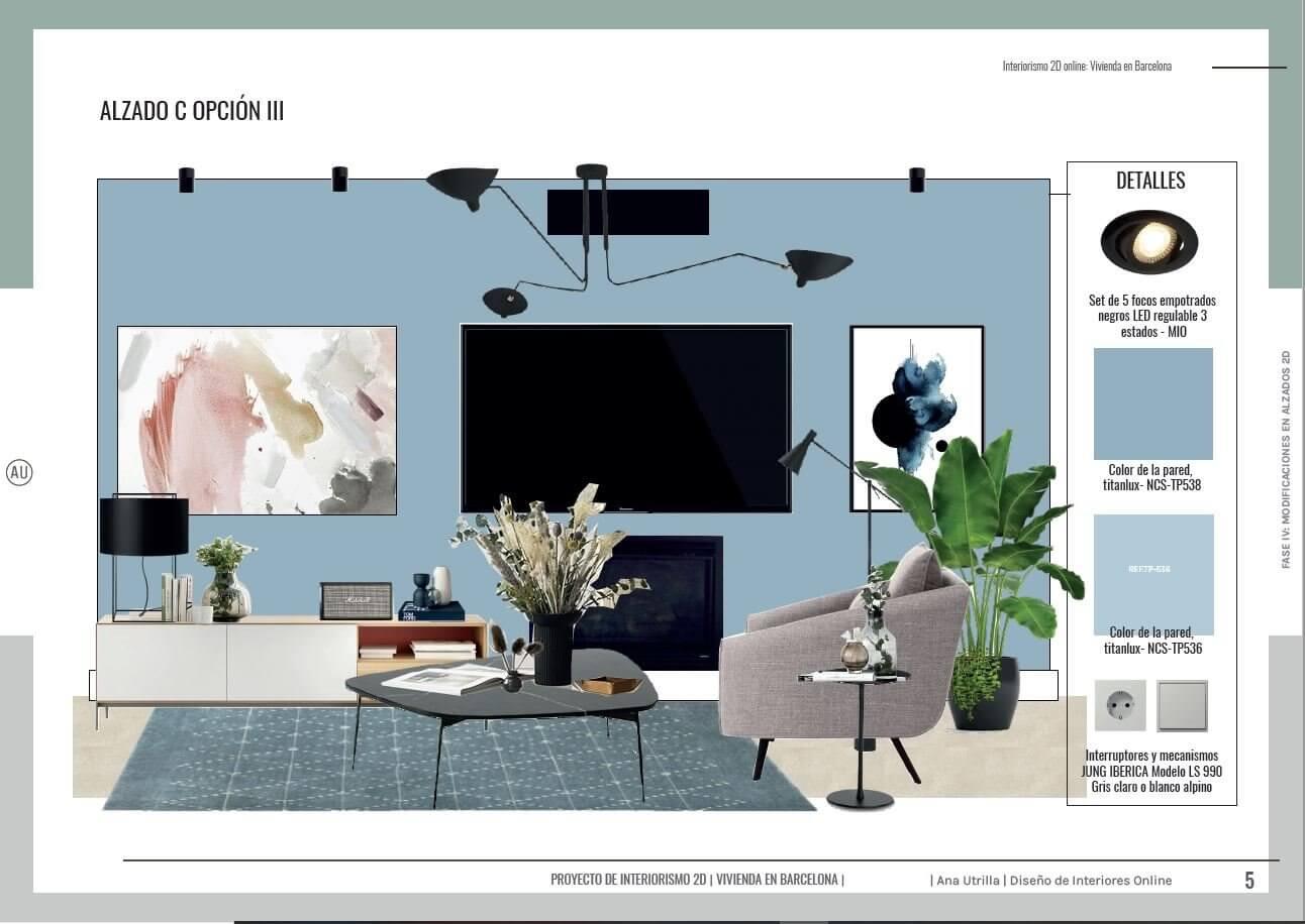 Proyecto de diseño e interiorismo en 2D, alzados en 2D de salón comedor de estilo moderno contemporáneo en Barcelona. #AnaUtrillainteriorismoonline