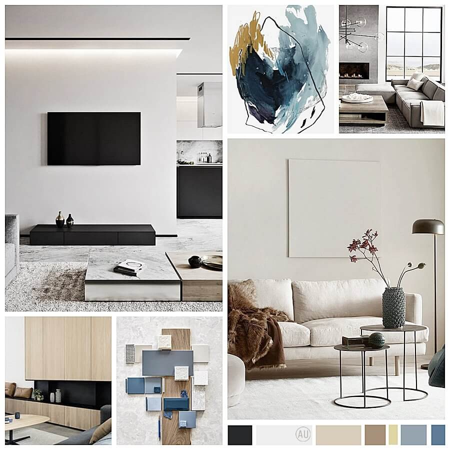 Proyecto de asesoría en decoración de interiores 2D online de salón comedor de estilo moderno contemporáneo en Barcelona. #AnaUtrillainteriorismoonline