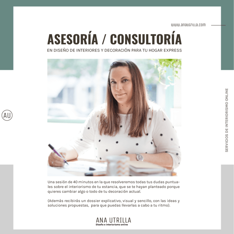 Servicio de asesoría y consultoría en decoración de interiores express para tu hogar. #AnaUtrillainteriorismoonline #decoraciondeinterioresonline