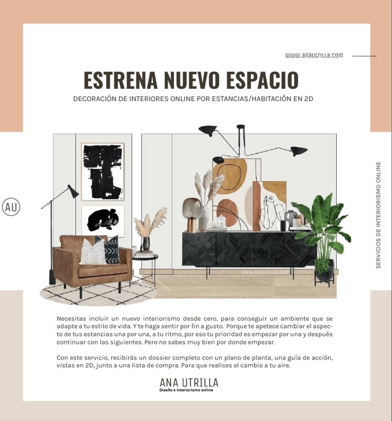 Servicio de decoración de interiores online por habitaciones en 2D. #AnaUtrillainteriorismoonline
