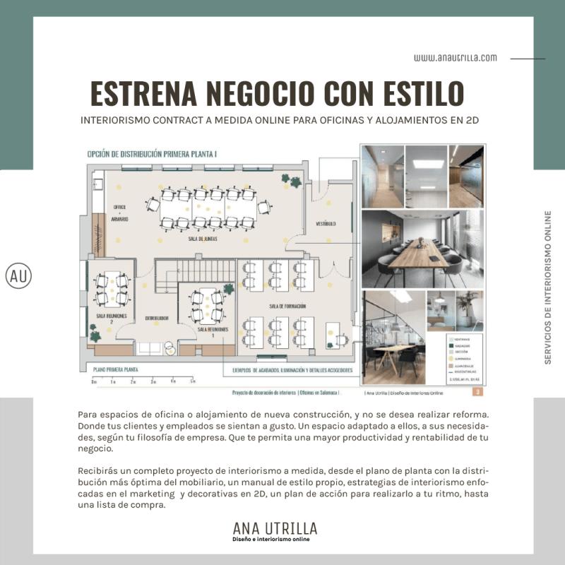 Proyecto de diseño de interiores e interiorismo contract para espacios de oficina y alojamientos rurales ne 2D online. #AnaUtrillainteriorismoonline