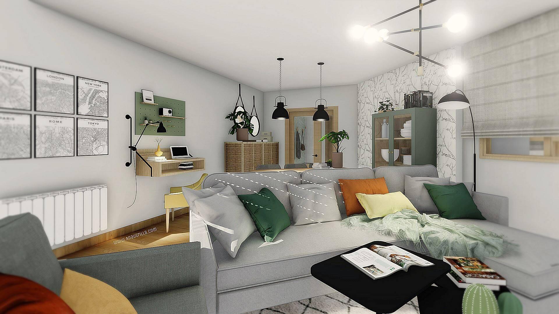 Proyecto reforma integral en Ciudad Real, de estilo japandi, nórdico, wellness. Proyecto de interiorirsmo a medida en 3D. #AnaUtrillainteriorismoonline #AnaUtrillainterioristaonline
