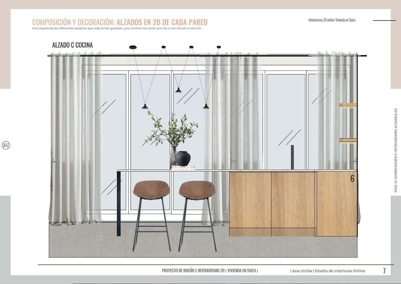 Alzados en 2D de zona de cocina de estilo rústico contemporáneo y toques mediterráneos, de vivienda passive house en Suiza a medida. Ana Utrilla interiorista online