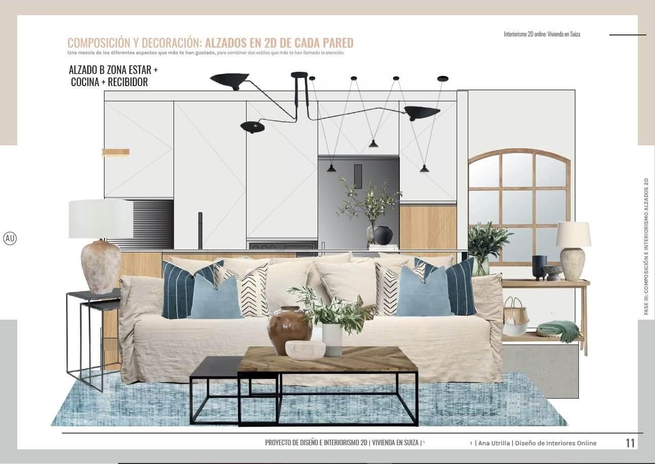 Alzados en 2D de zona de estar, de estilo rústico contemporáneo y toques mediterráneos, de vivienda passive house en Suiza a medida. Ana Utrilla interiorista online