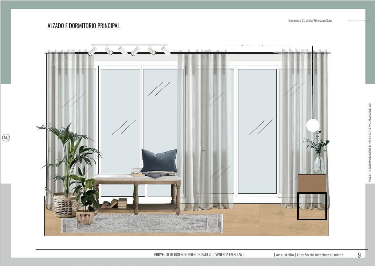 Alzado en 2D de dormitorio principal en Suiza, casa unifamiliar, passive house. Diseño e interiorismo online Ana Utrilla.