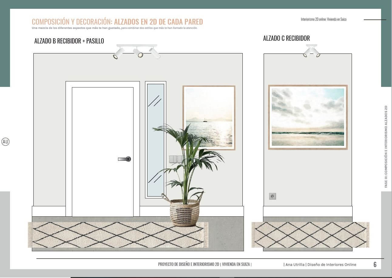 Alzados en 2D de zona de entrada, recibidor, de estilo rústico contemporáneo y toques mediterráneos, de vivienda passive house en Suiza a medida. Ana Utrilla interiorista online