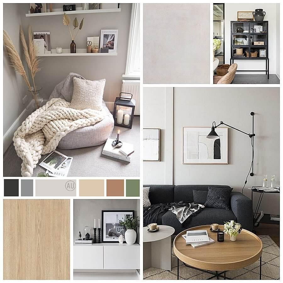 Deco Moodboard del estilo, la paleta de colores y el tipo de mobiliario que le gusta al cliente. Asesoría en decoración de interiores y estilismo en 2D, para un espacio de salón comedor de estilo nórdico-industrial en Barcelona. @Utrillanais #AnaUtrilla #Interiorismoonline