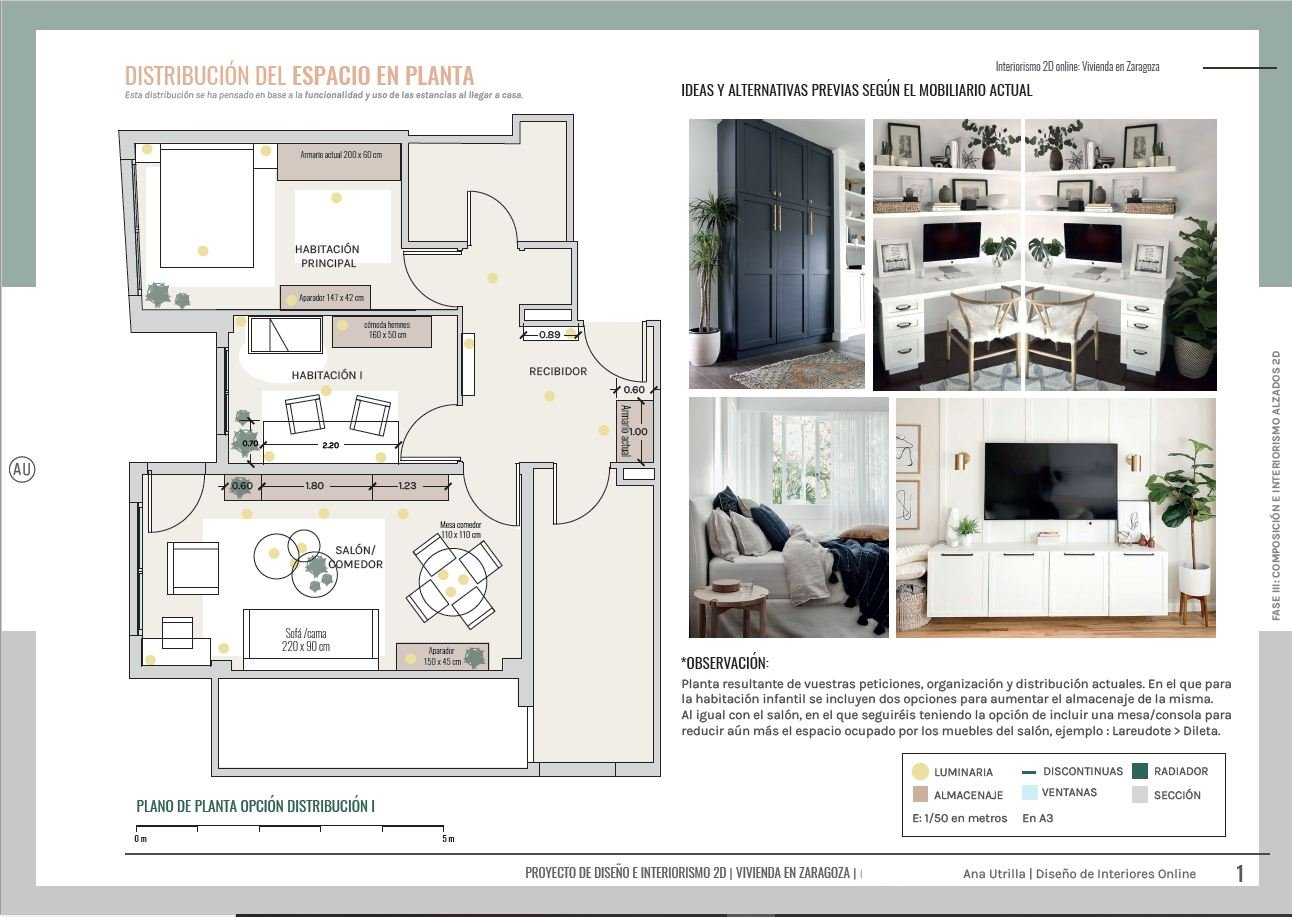 Proyecto interiorismo en 2D de vivienda en Zaragoza de estilo clásico renovado y toques mediterráneos en 2D. Plano de distribución del espacio y el mobiliario. @Utrillanais #AnaUtrillainteriorista #Online