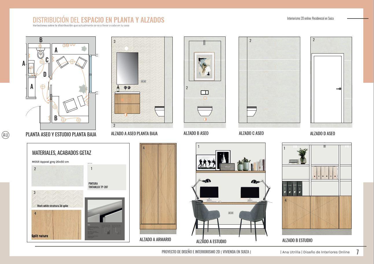 Alzados 2D zona de oficina en casa, home office a medida, de estilo contemporáneo y toques mediterráneos en Suiza. Diseño de mobiliario e interiores online @Utrillanais #AnaUtrilla #Interiorismoonline