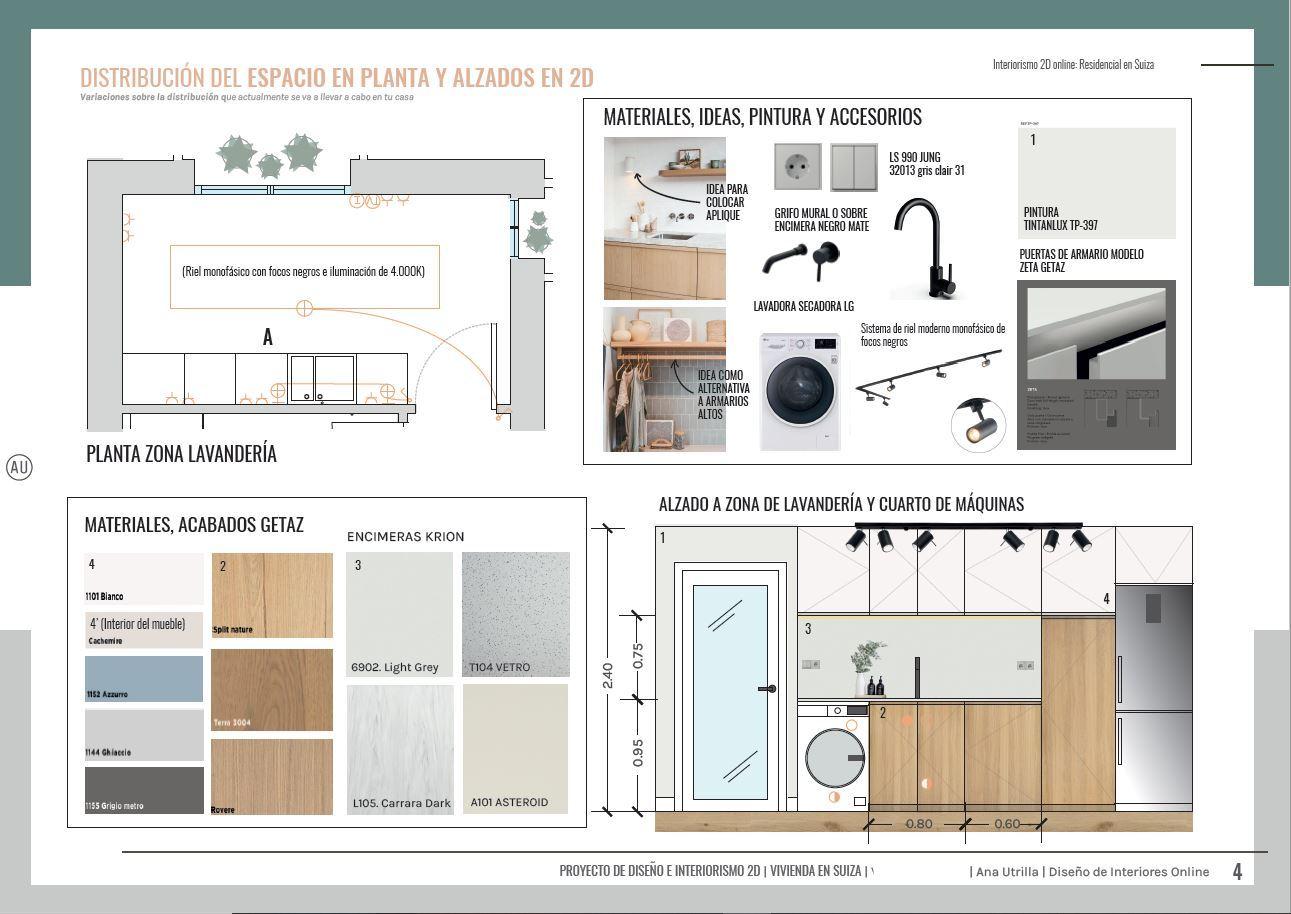Alzado en 2D zona de lavandería a medida, diseño e interiorismo online de vivienda en Suiza, de estilo wellness, contemporáneo y toques mediterráneos. @Utrillanais #AnaUtrilla #Interiorismoonline