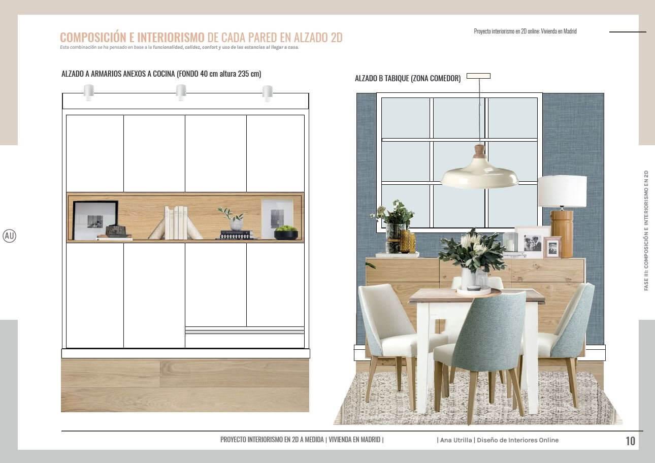 Alzados en 2D recibidor y zona de comedor, de estilo clásico renovado, tonos neutros y acentos en azules. Proyecto interiorismo en 2D en Madrid. #AnaUtrilla #Interioristaonline