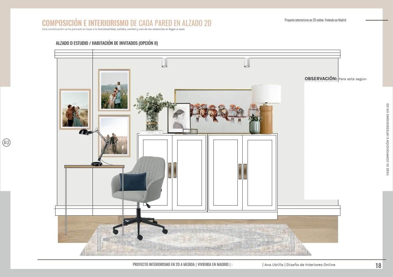 Zona de home office, espacio de estilo clásico renovado de tonos greises. #AnaUtrilla #Interiorismoonline