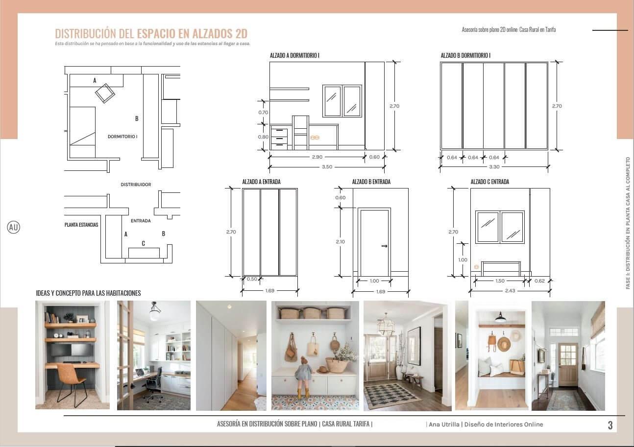 Alzados en 2D, a medida, acotados de la entrada a la casa rural y armarios integrados con la pared, invisibles. Ana Utrilla interiorista online