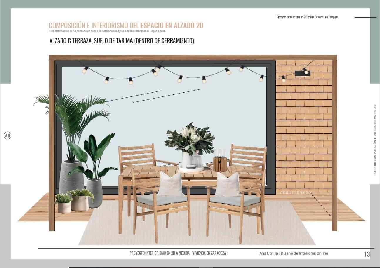 Espacio de terraza, para disfrutar al aire libre, alzado en 2D de proyecto de interiorismo en 2D, para una terraza en Zaragoza. #AnaUtrilla #Interiorismoonline