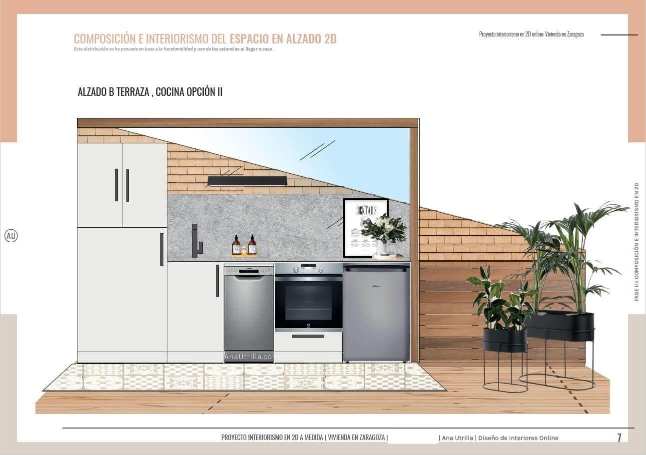 Alzado cocina en 2D, de estilo moderna contemporánea de toques azules turquesa, acogedora y cálida, con lo imprescindible para disfrutar de un ambiente adaptado a toda la familia en la terraza. #AnaUtrilla #Interioristaonline