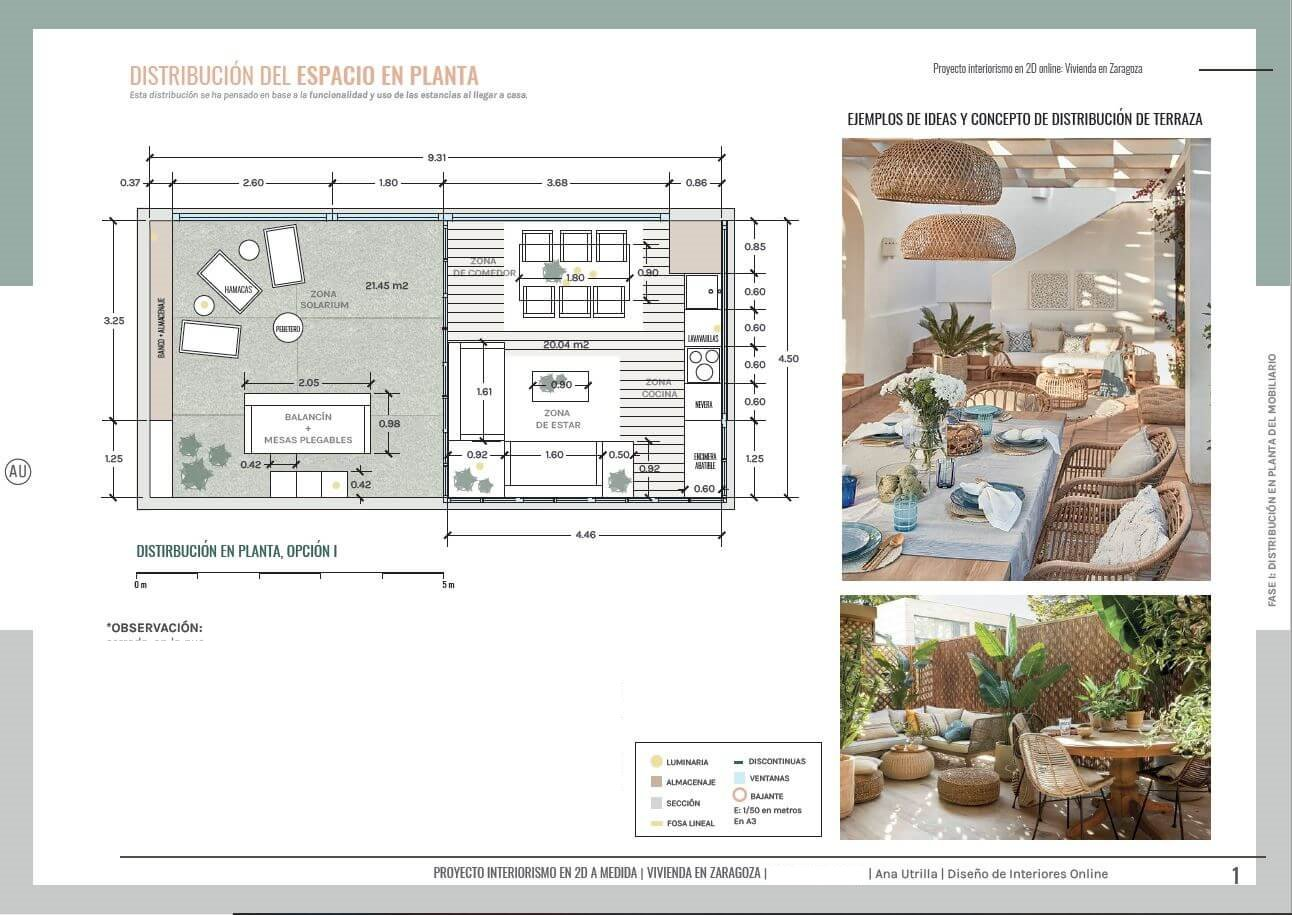 Plano de planta de proyecto de interiorismo en 2D, cerramiento parcial con pérgola bioclimática, en Zaragoza, de estilo moderno contemporáneo. (Una terraza para cualquier día del año, proyecto de interiorismo en 2D) #AnaUtrilla #Interiorismoonline