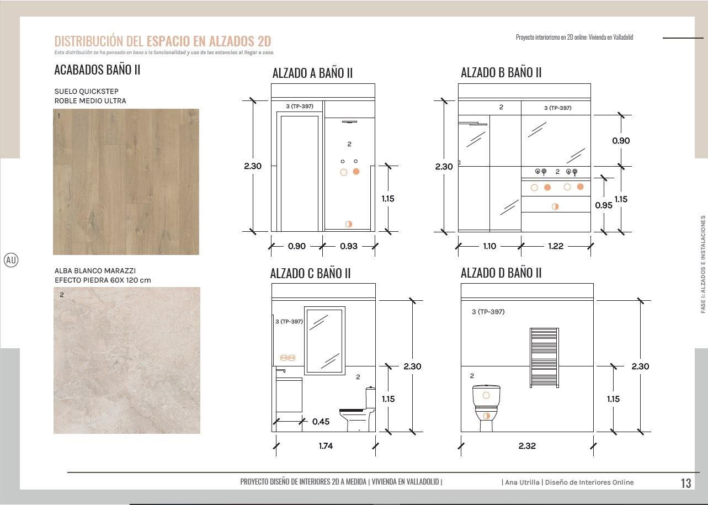 Alzados en 2D, baño en suite a medida, con acabados e instalaciones. #AnaUtrilla #Interioristaonline
