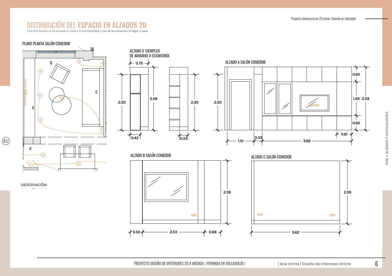 Alzados en 2D mueble de salón comedor, a medida, para incorporar almacenaje y zona para el televisor. Proyecto de reforma de vivienda en Valladolid, diseño de interiores sobre plano online #AnaUtrilla #Interiorismoonline