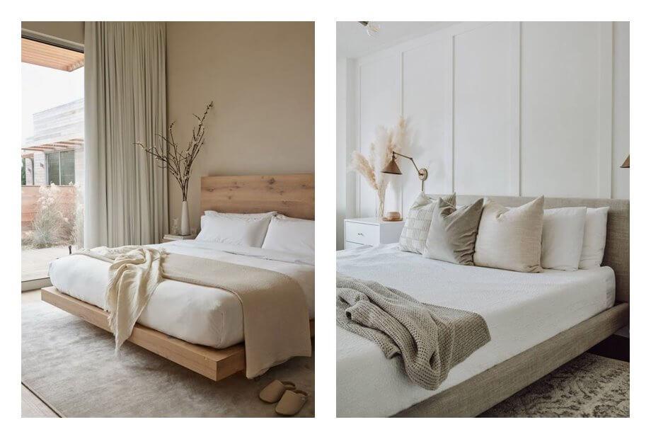 Espacios de dormitorios de estilo wellness con tonos neutros, equilibrados, acogedores en calma. Consejos para evitar que tu decoración e interiorismo parezcan sosos al introducir tonos neutros en tus estancias #AnaUtrilla #interioristaonline