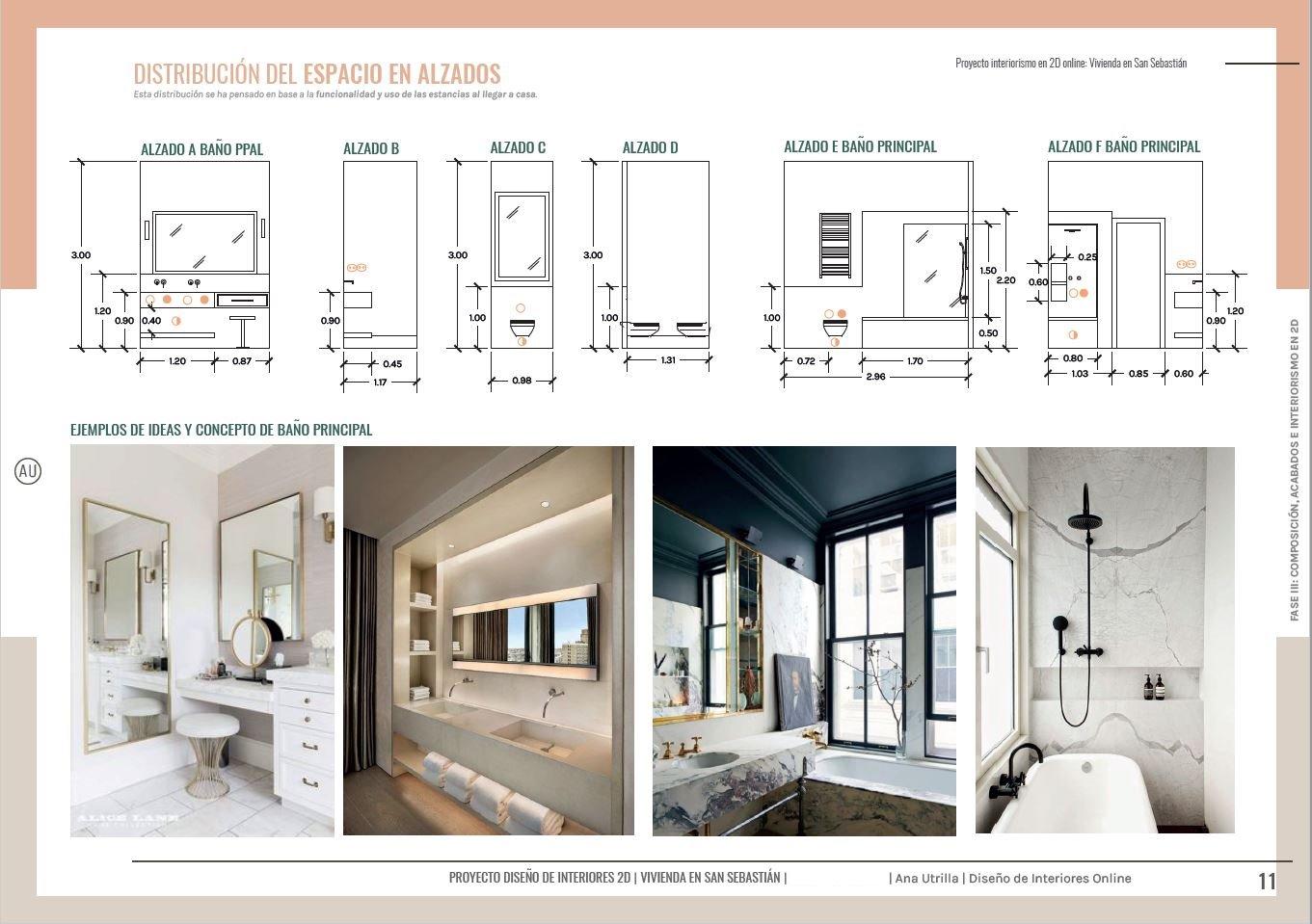 Alzado en 2D baño en suite, vivienda en San Sebastián de estilo francés. Cotas, e instalaciones para trasladar tus ideas a los gremios durante la reforma de tu hogar. #AnaUtrilla #serviciosdeinteriorismoonline