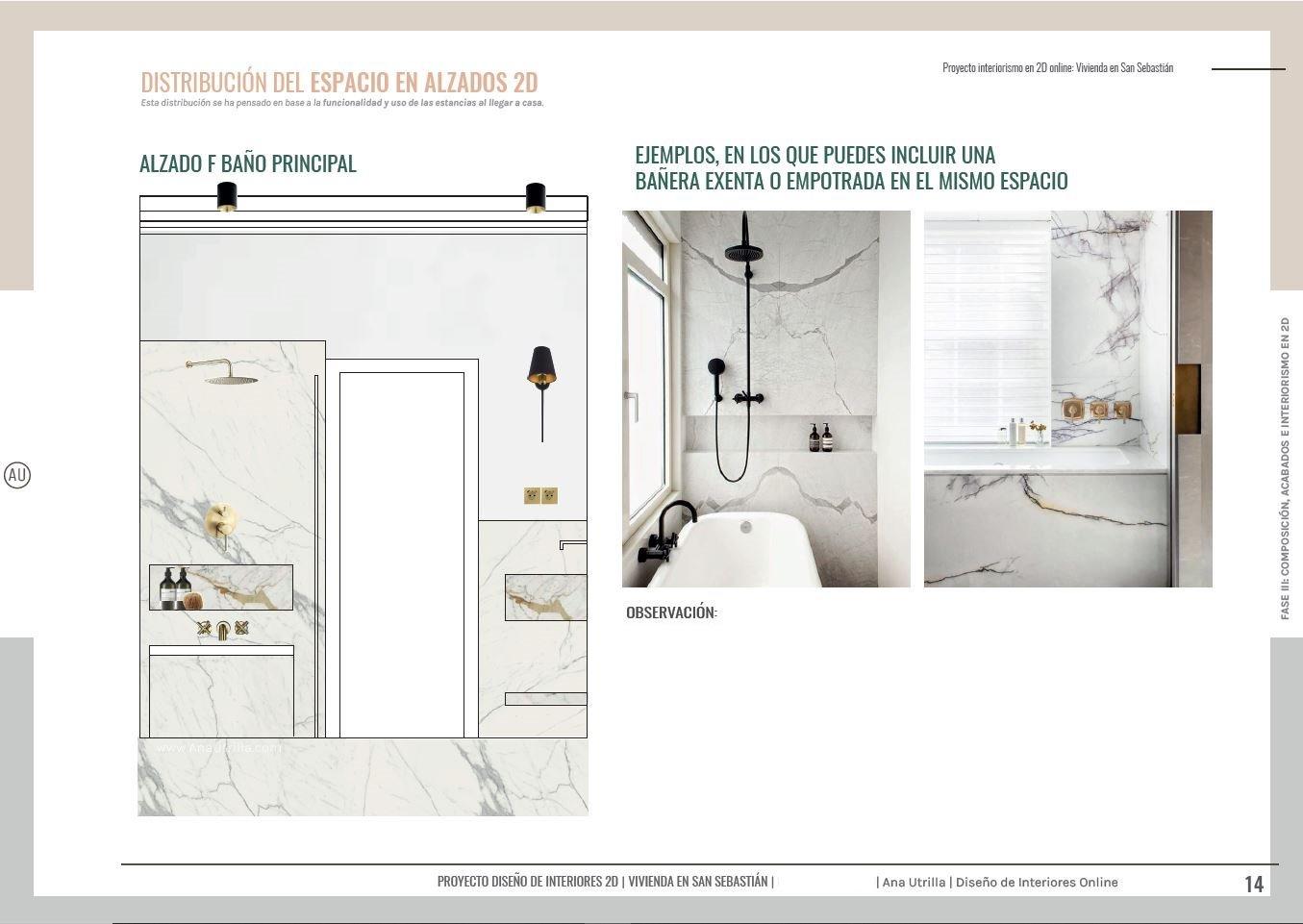 Alzados en 2D de baño principal para vivienda en San Sebastián de estilo Francés, donde incluir los acabados de materiales nobles, y mantener un estilo sofisticado y de suaves toques barrocos. #AnaUtrilla #serviciosdiseñodeinteriores