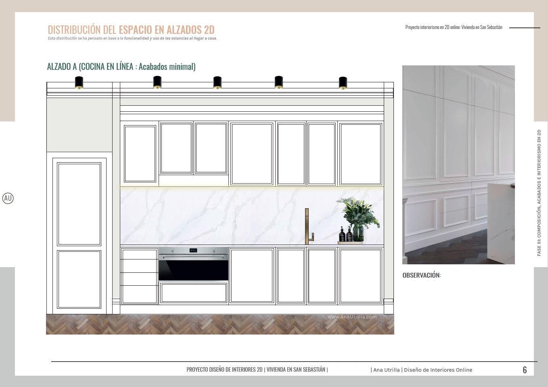 Alzado en 2D de cocina a medida de estilo francés, parisino, en tonos neutros, elegante y sofisticada, con puertas escamoteables. Proyecto de interiorismo y reforma. #AnaUtrilla #Interioristaonline