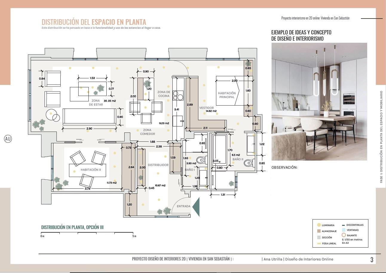 Plano de planta en 2D, de la vivienda, el paso principal para conseguir una distribución acorde con tu estilo de vida. Proyecto de interiorismo y reforma de cocina y baños de estilo francés en San Sebastián. #AnaUtrillainteriorista #diseñohogaresconencanto