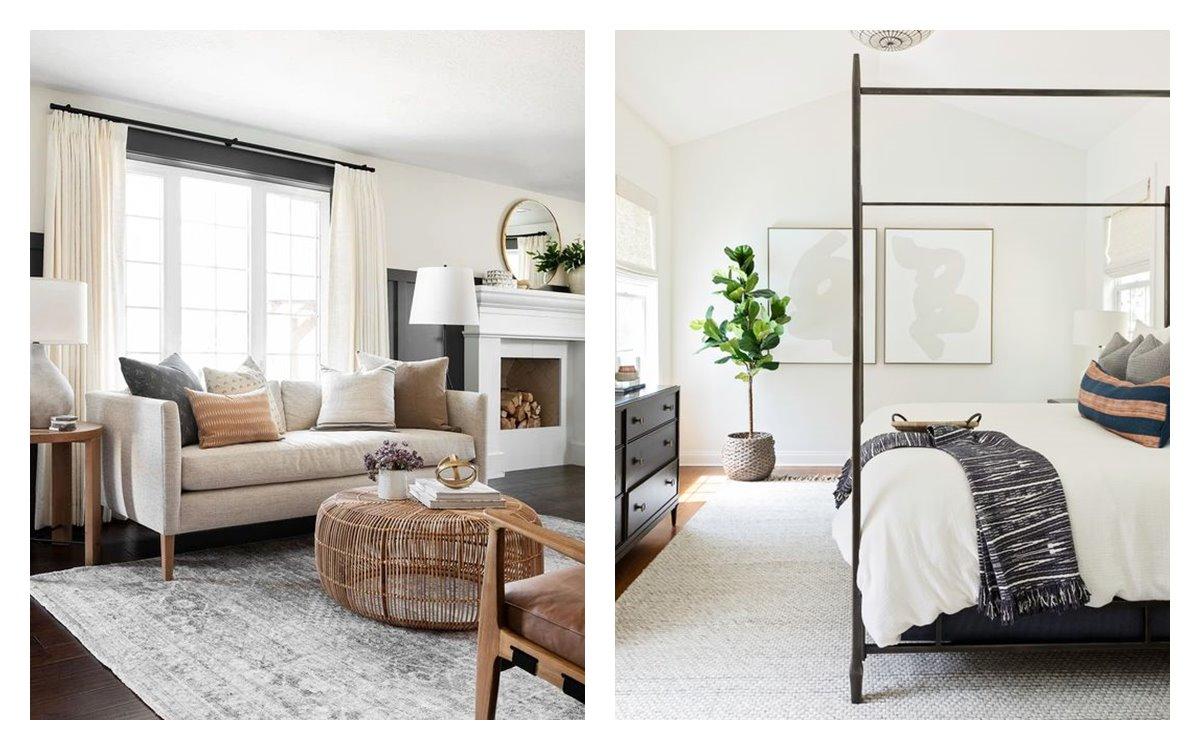 Espacios de dormitorio principal y salón comedor, de estilo transicional, tendencia en decoración de interiores 2021. #AnaUtrillainteriorista #Serviciosdeinteriorismo