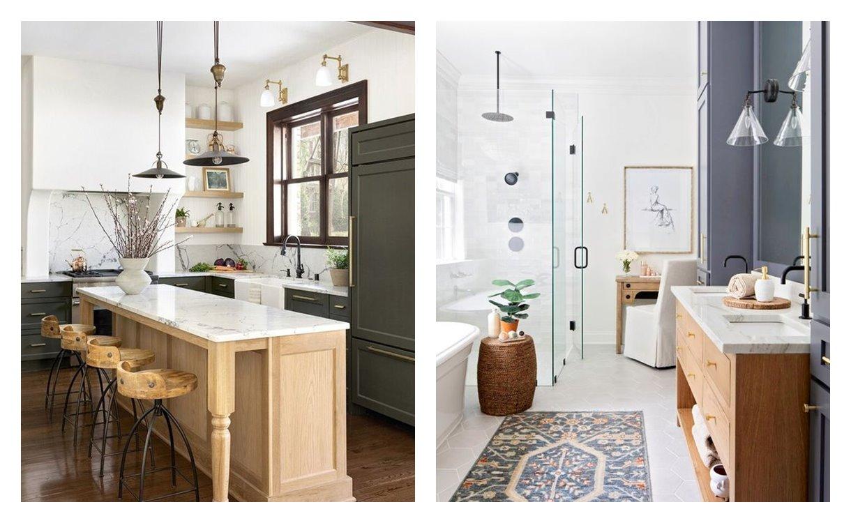 Cocina y baño de tonos neutros y estilo transicional, en tendencia 2021, espacios abiertos, donde combinar accesorios y muebles clásicos, vintage con contemporáneos. #AnaUtrilla #Interiorismoonline