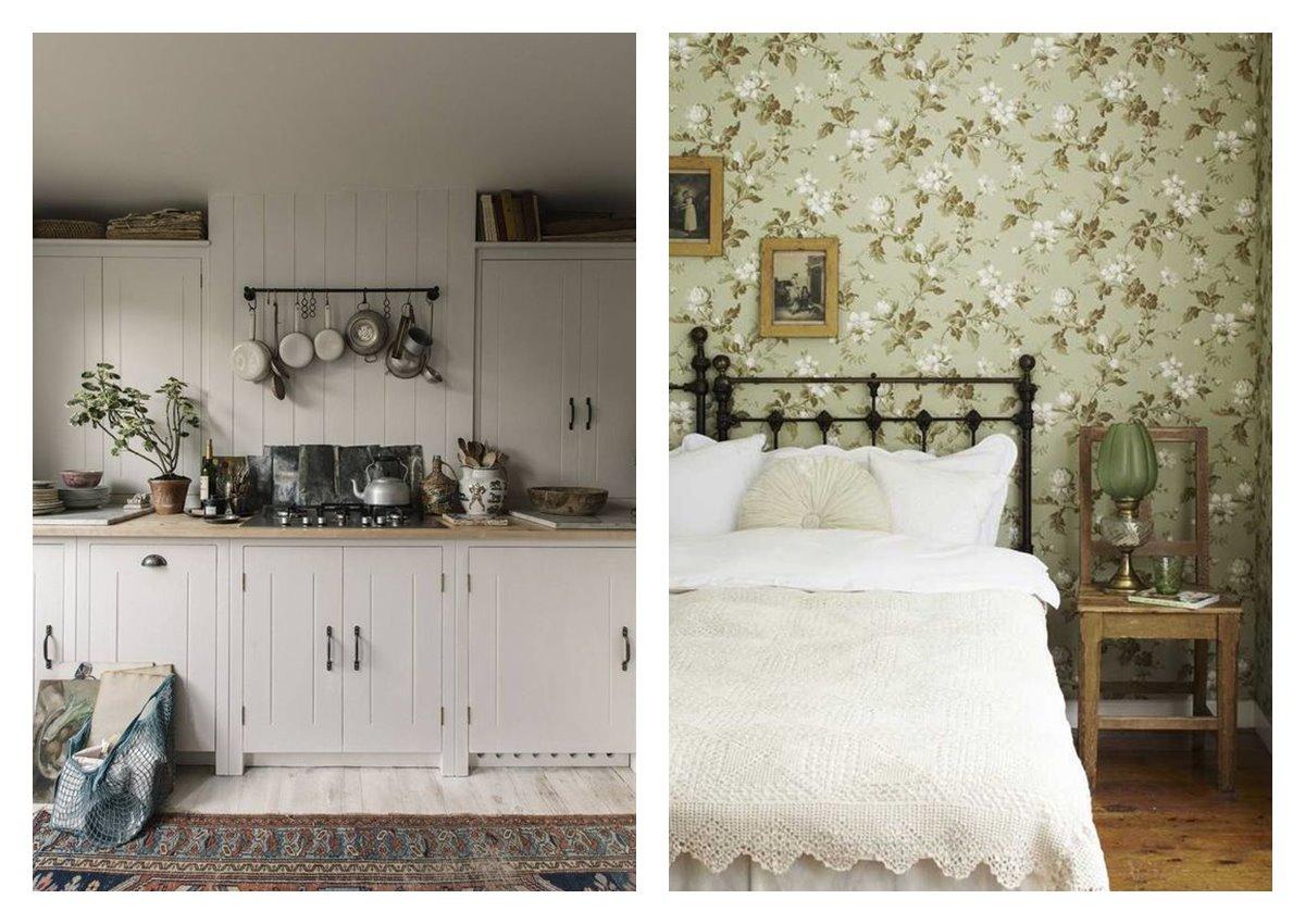 Cocina y dormitorio principal de suaves tonos verdes y estilo cottagecore, un estilo decorativo en tendencia 2021, idealiza la vida rural, y la recrea en el hogar. #AnaUtrilla #serviciosdediseñodeinteriores #online