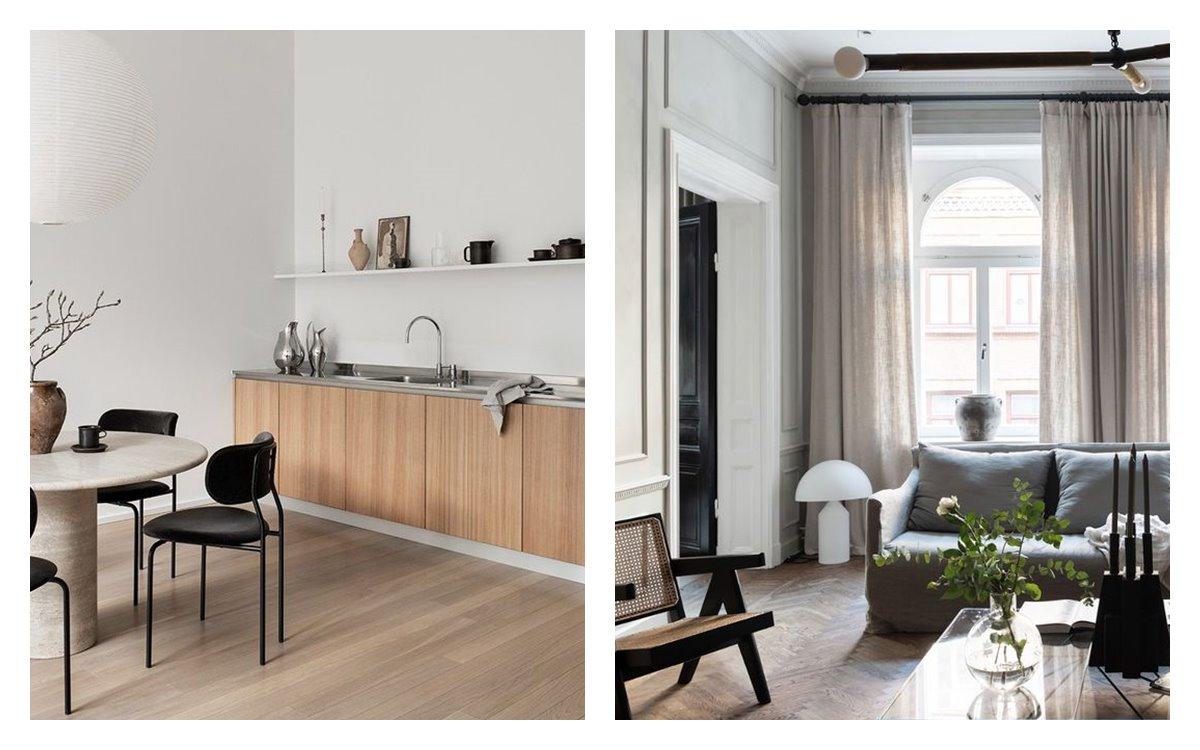 Estancias como la cocina o salón comedor, en suaves tonos neutros, y luminosas, minimalistas, de estilo nuevo nórdico, en tendencia 2021. #AnaUtrilla #diseñodeinterioresamedida