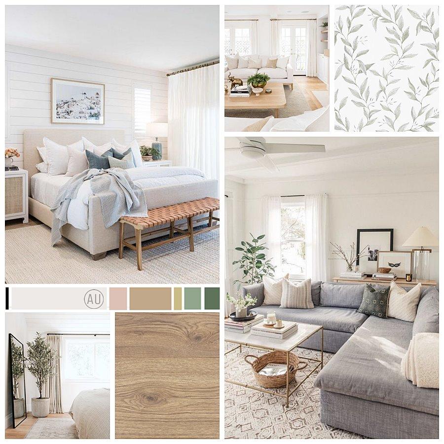 Moodboard proyecto de interiorismo en 2D en Madrid, de estilo relajado neorústico y toques vintage. Donde la luminosidad, los cálidos tonos de madera y suaves estampados vegetales serán protagonistas. #AnaUtrillainteriorista