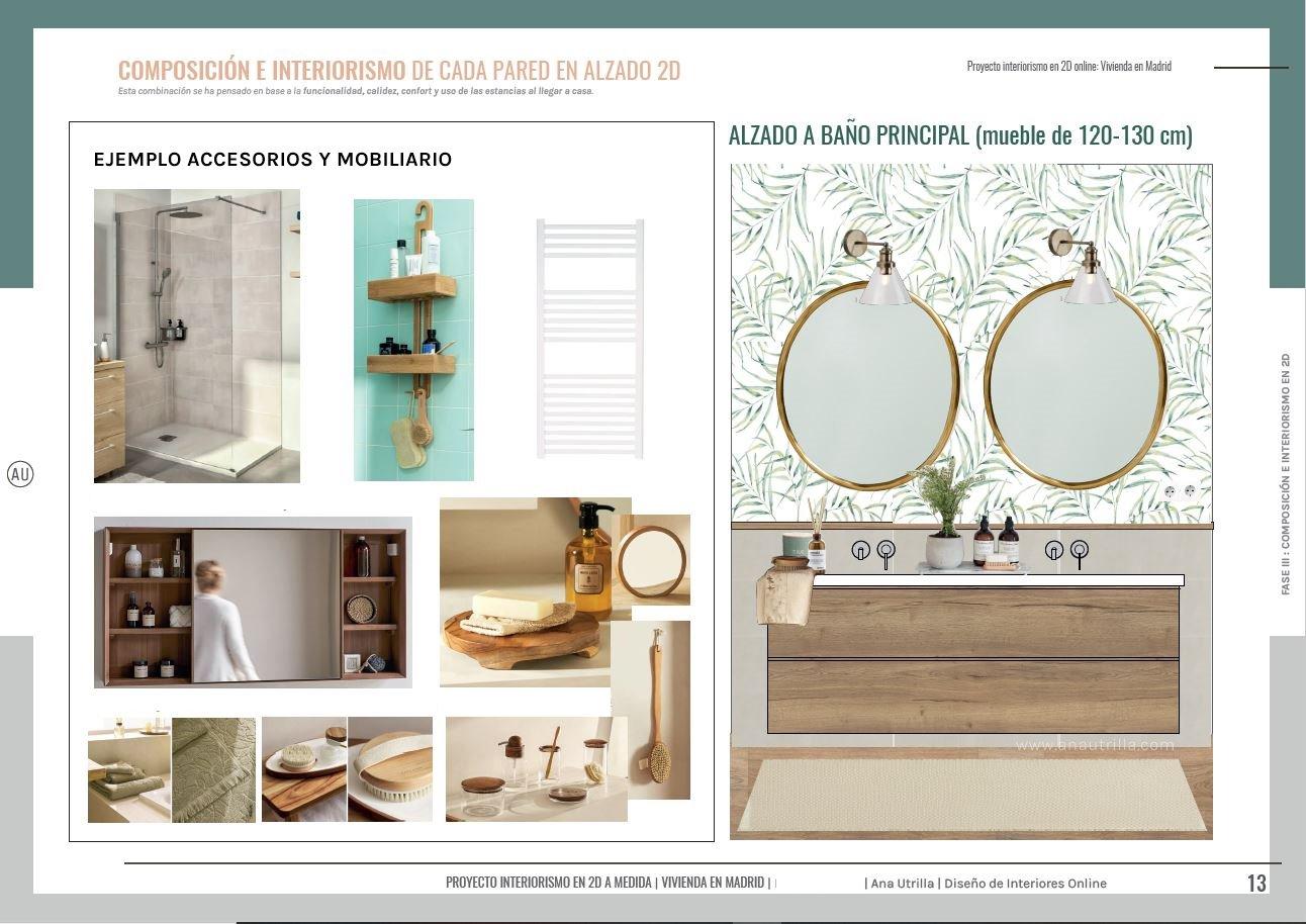 Alzado en 2D decoración de interiores para baño en suite, con papel pintado vegetal y estilo spa. #AnaUtrillainteriorista