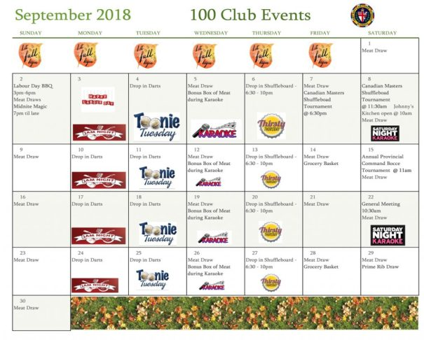 Sept calendar of events