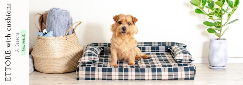 新商品:クッション付きベッドカバー:エトレ|犬のベッド:アンベルソ