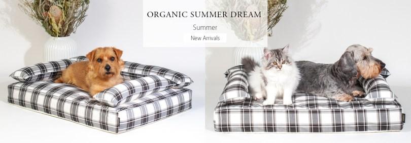 あご乗せクッション付きカバー:オーガニック・サマードリーム|犬のベッド:アンベルソ