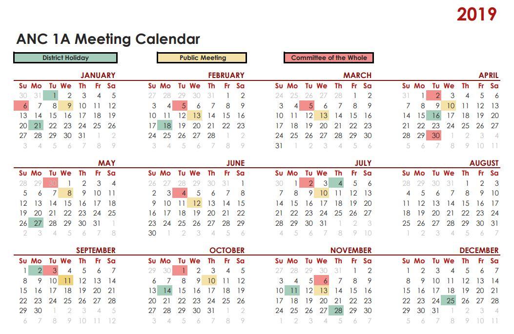 ANC 1A 2019 Calendar