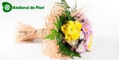 Buchet rustic cu crizanteme