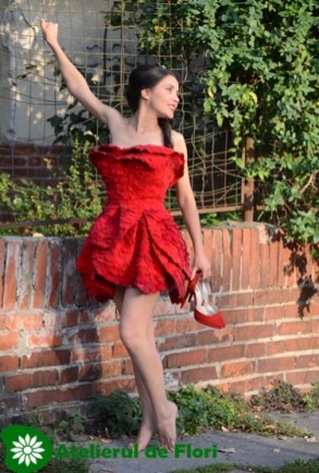fresh flower dress made with red roses