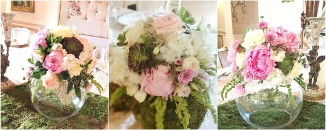 Aranjament floral nunta cu bujori amarantus